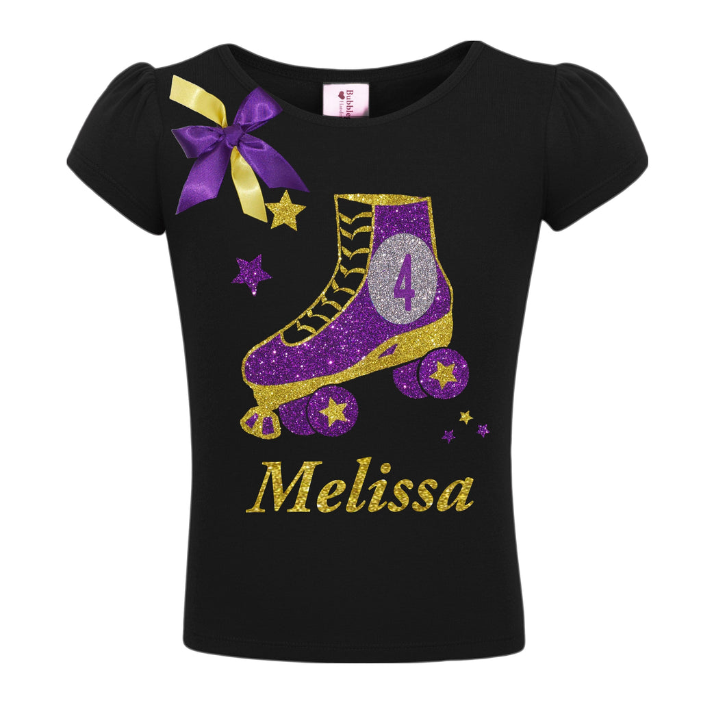 4th Birthday Black Roller Skate Shirt - Shirt - Bubblegum Divas Store