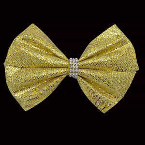 Girls Jumbo Gold Sparkle Hair Bow