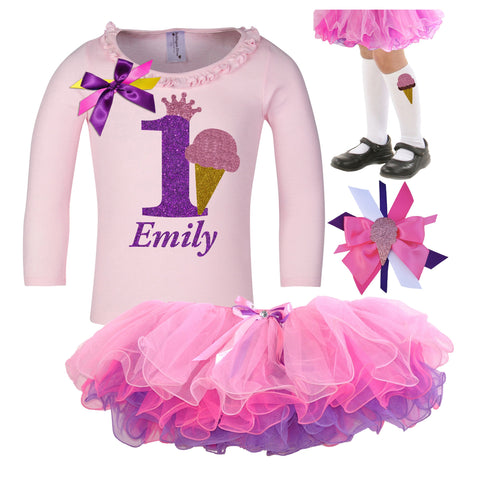 1st Birthday Outfit - Purple Bubble Sparkle