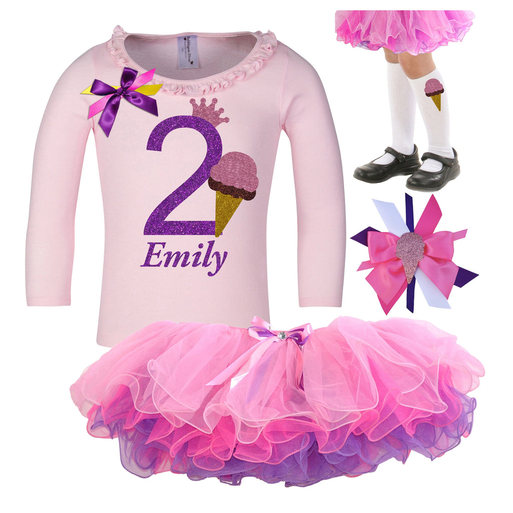 2nd Birthday Outfit -Strawberry Ice Cream Cone - Outfit - Bubblegum Divas Store