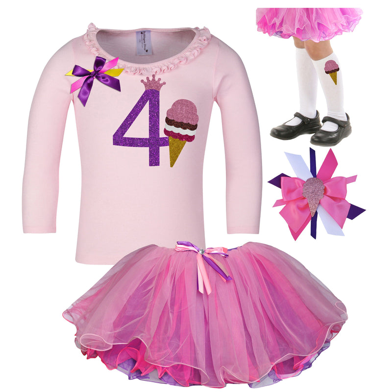 4th Birthday Outfit - Strawberry Ice Cream Cone - Outfit - Bubblegum Divas Store