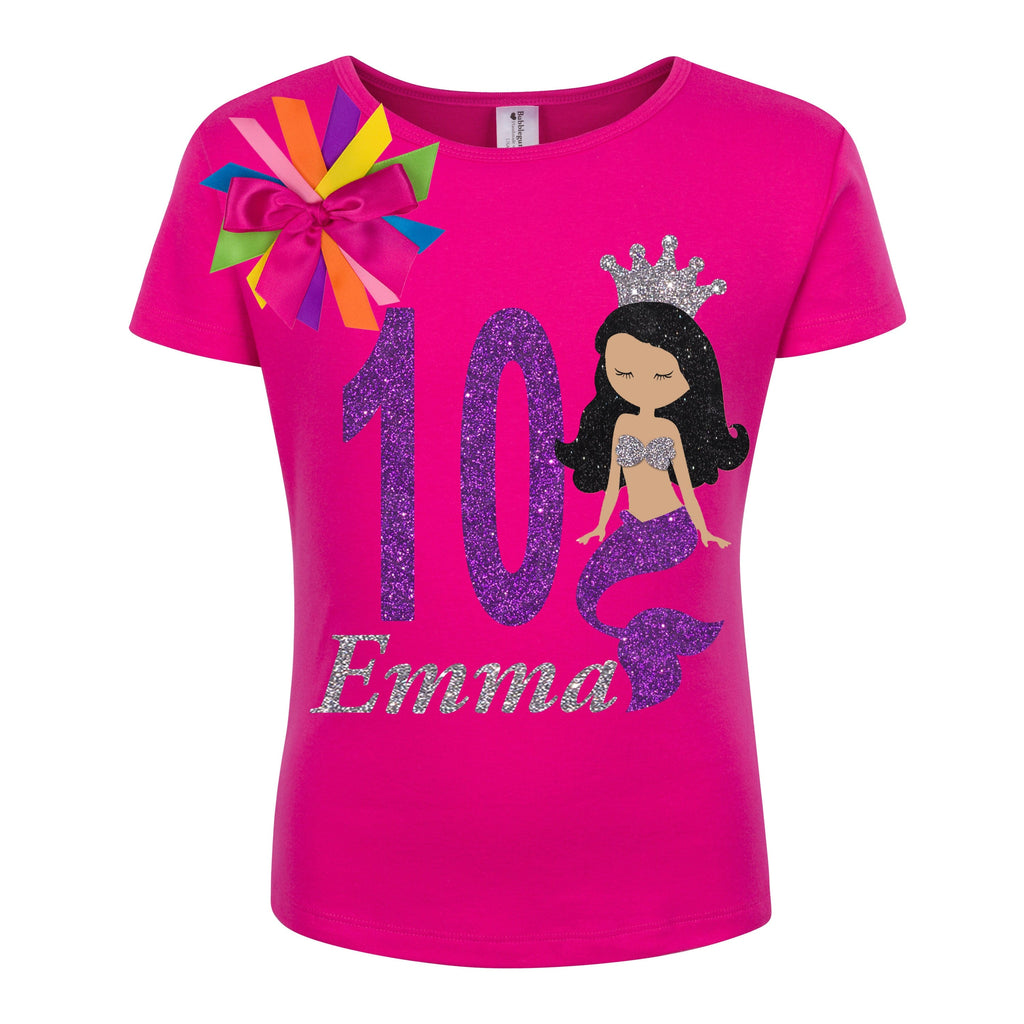 10th Birthday Girl Mermaid Shirt - 10th Birthday Shirt - Bubblegum Divas Store