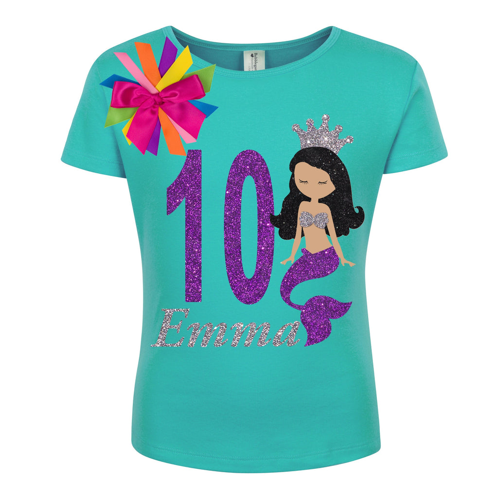 10th Birthday Girl Mermaid Shirt - Shirt - Bubblegum Divas Store