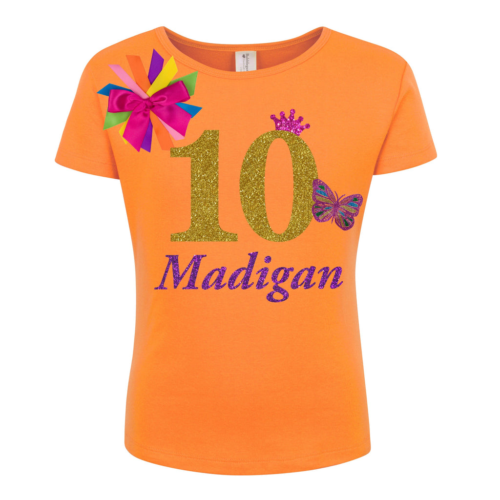 10th Birthday Shirt - Gold Butterfly - Shirt - Bubblegum Divas Store