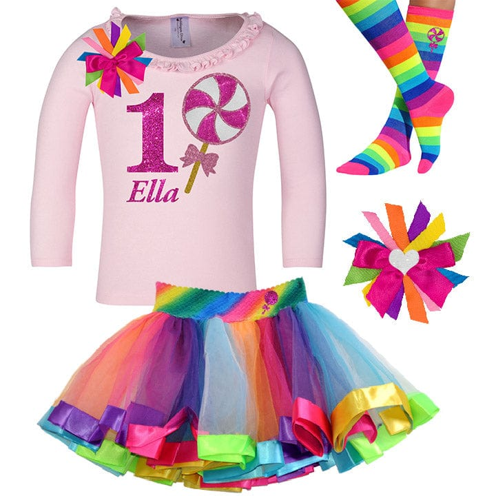 Pink Swirl Lollipop 1st Birthday - Lollipop Birthday Outfit Baby Toddler Girls - Bubblegum Divas Store