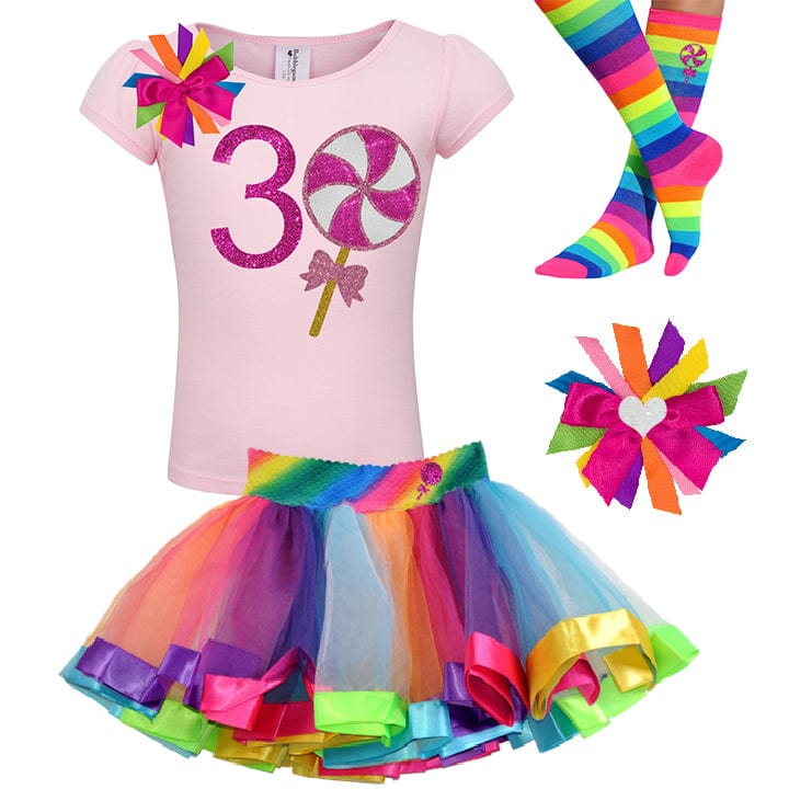 Pink Swirl Lollipop 3rd Birthday - Lollipop Birthday Outfit Baby Toddler Girls - Bubblegum Divas Store