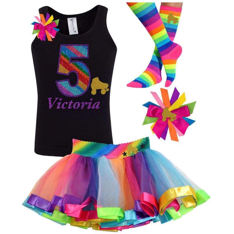 5th Birthday Outfit - Gold Roller Skate - Outfit - Bubblegum Divas Store