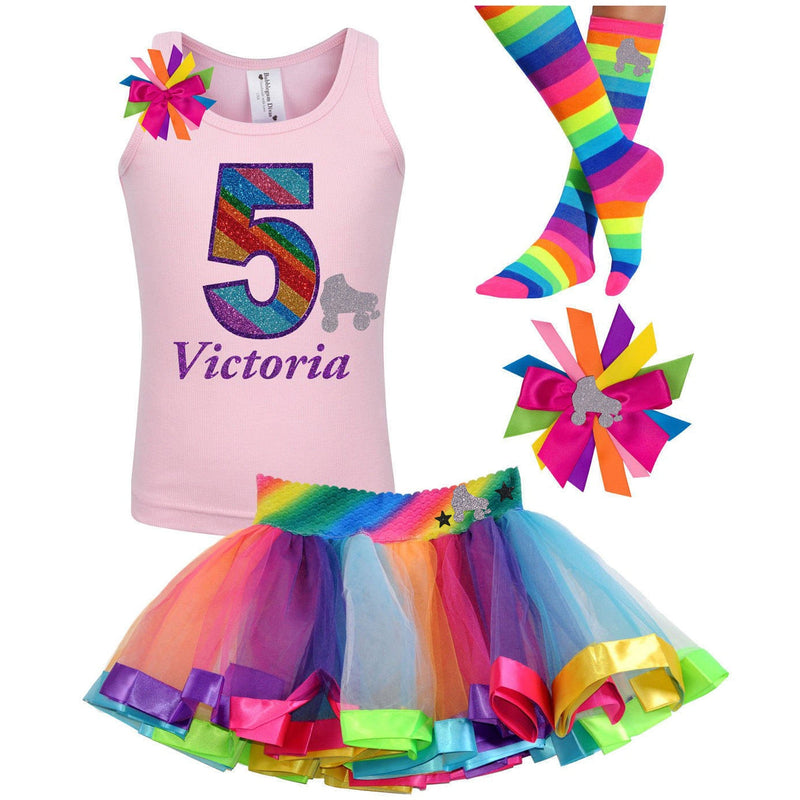 5th Birthday Outfit - Silver Roller Skate - Outfit - Bubblegum Divas Store