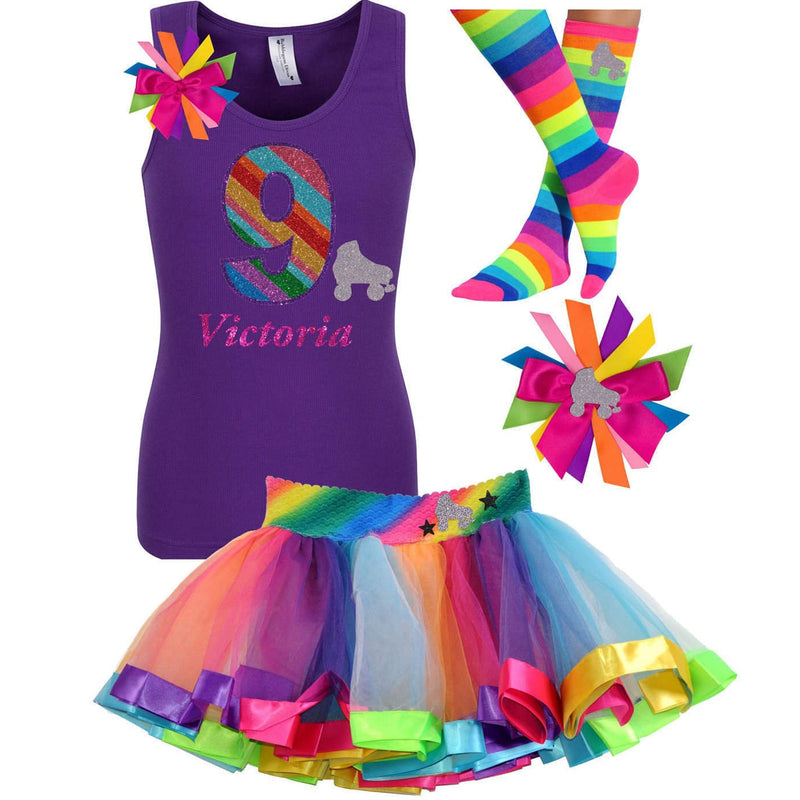 Roller Skate - 9th Birthday Girl Shirt - 9th Birthday Outfit - Bubblegum Divas Store