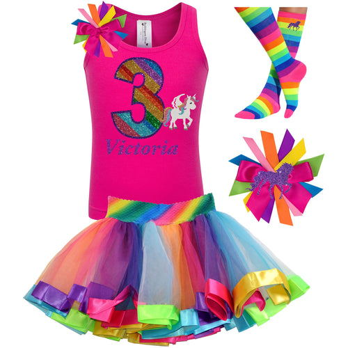 3rd Birthday Unicorn Shirt Rainbow Party Outfit 4PC Set