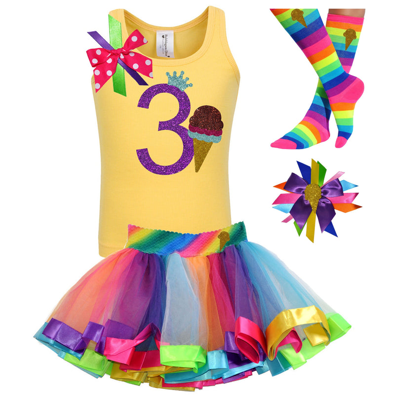 3rd Birthday Outfit - Chocolate  Ice Cream Cone - Outfit - Bubblegum Divas Store
