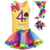 Yellow ice cream cone shirt, rainbow tutu skirt with birthday number 4