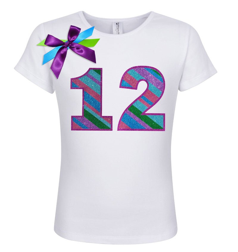 12th Birthday Shirt - Punch Berry Stripes