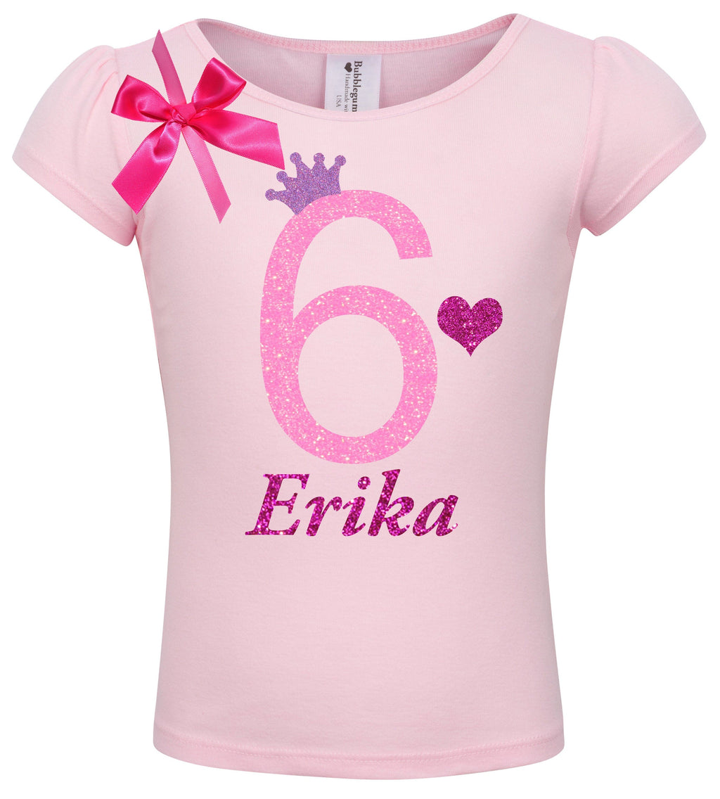 6th Birthday Shirt - Pink Bubble Sparkle - Shirt - Bubblegum Divas Store