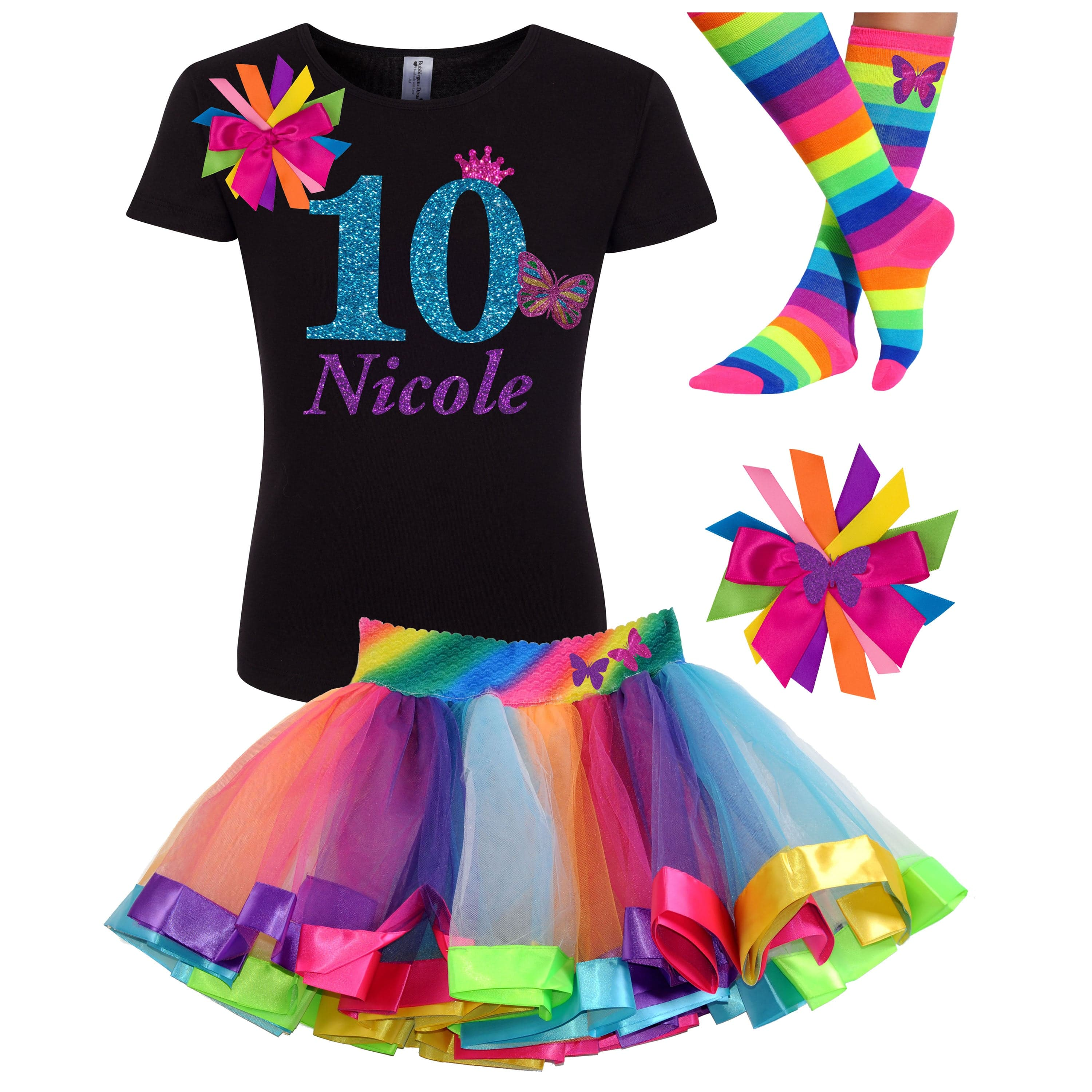 10th Birthday Butterfly Outfit Personalized 10