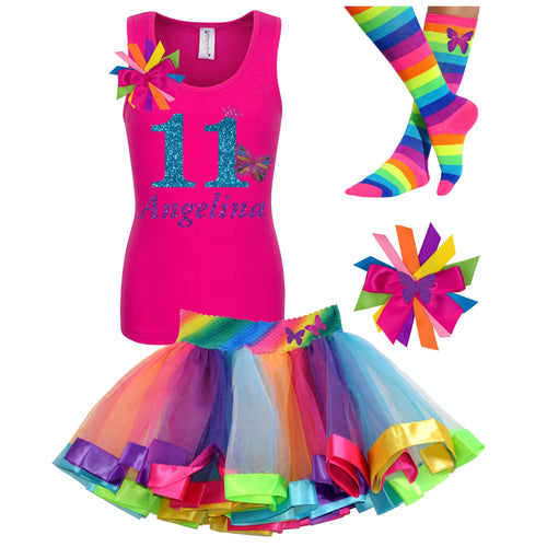Tween Girls 11th Birthday Butterfly Outfit Personalized Name Age 11 - Outfit - Bubblegum Divas Store