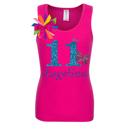 Girls 11th Birthday Butterfly Shirt Personalized Name Age 11 - Shirt - Bubblegum Divas Store