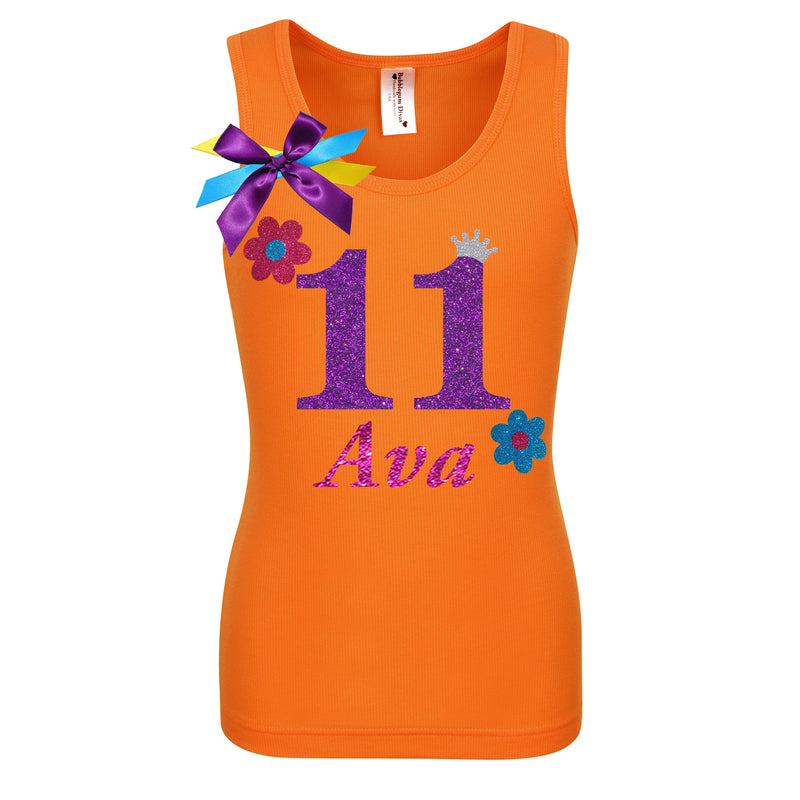 11th Birthday Shirt - Flower Power - Shirt - Bubblegum Divas Store