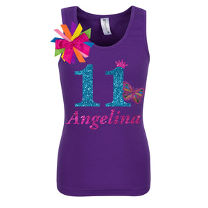 11th Birthday Shirt - Pink Butterfly - Shirt - Bubblegum Divas Store