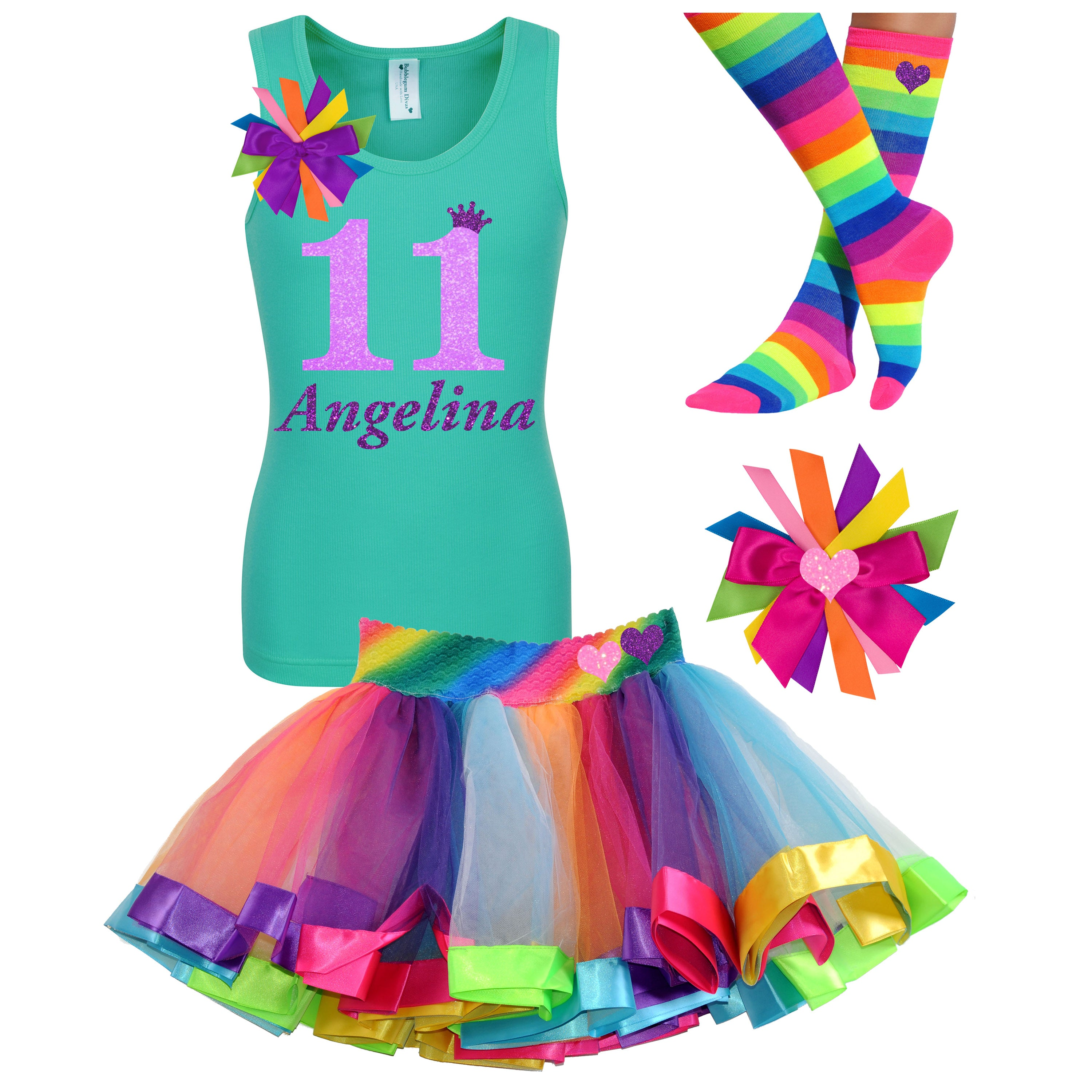 11th Birthday Shirt Rainbow Tween Girls Neon Glow Party Outfit Personalized - Outfit - Bubblegum Divas Store