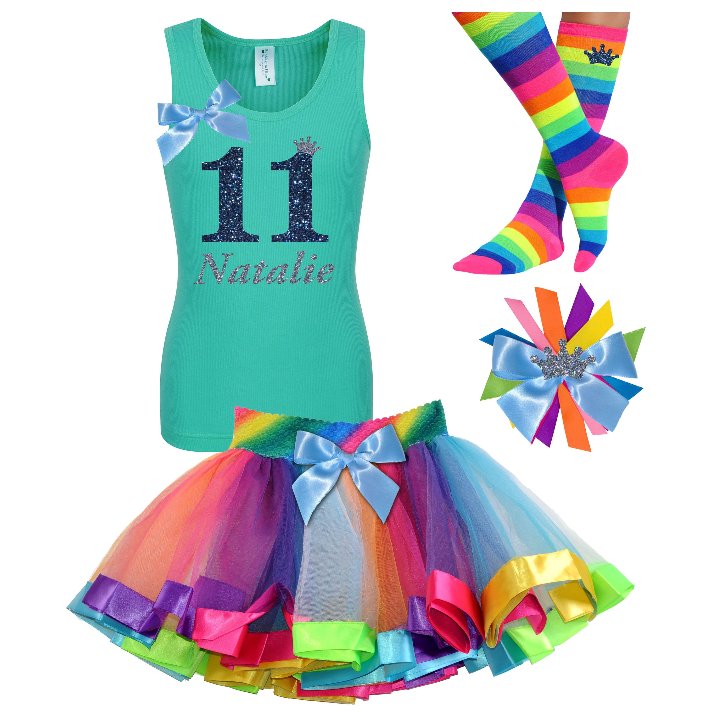 11th Birthday Shirt Girls Rainbow Tween Party Outfit Personalized - Outfit - Bubblegum Divas Store