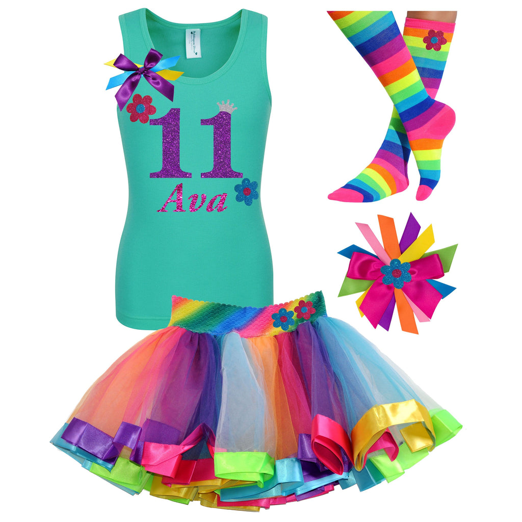 11th Birthday Outfit - Flower Shirt - Rainbow Tutu Outfit - Bubblegum Divas Store