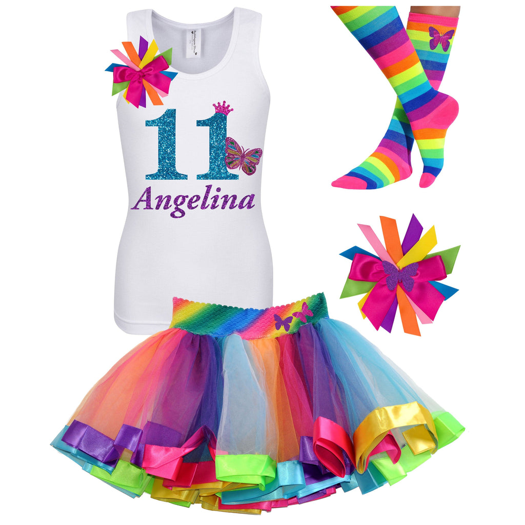 11th Birthday Outfit - Butterfly Shirt - Rainbow Tutu Outfit - Bubblegum Divas Store