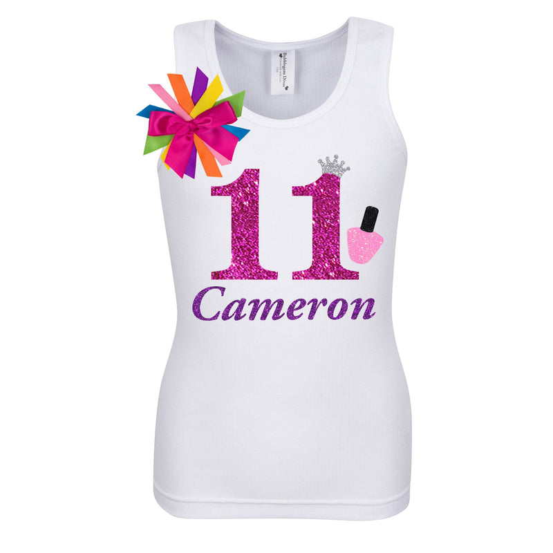 11th Birthday Nail Polish Shirt Personalized Name Age 11 - Shirt - Bubblegum Divas Store