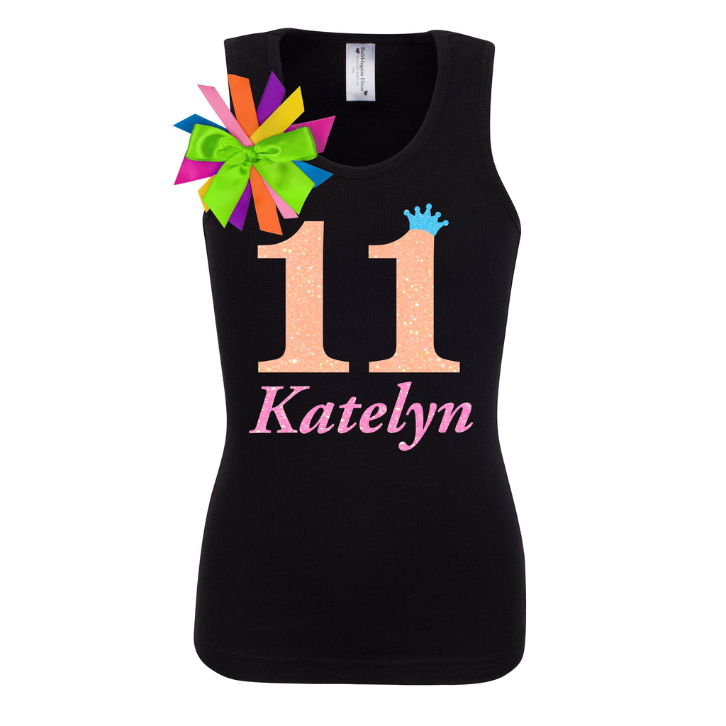 11th Birthday Shirt Neon Orange Personalized Name Age 11 - Shirt - Bubblegum Divas Store