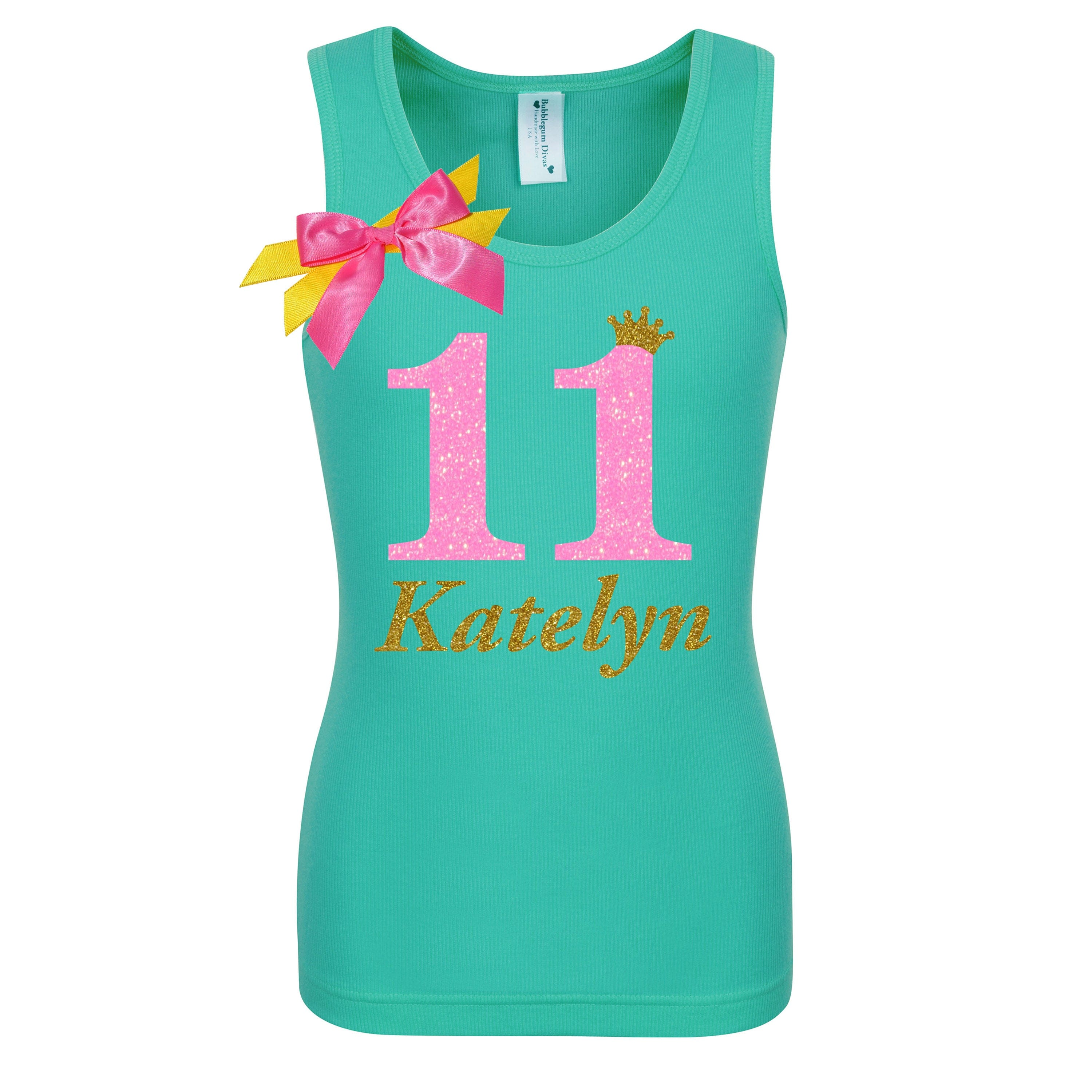 11th Birthday Shirt Neon Pink Personalized Name Age 11 - Shirt - Bubblegum Divas Store