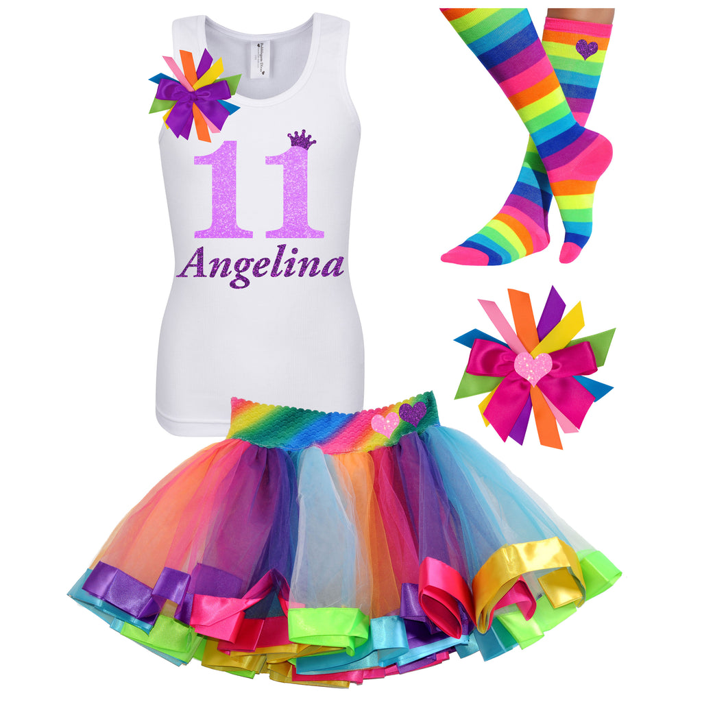 11th Birthday Girl -  Neon Glow Rainbow Outfit - Bubblegum Divas Store