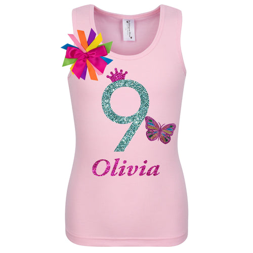 Girls 9th Birthday Butterfly Shirt Personalized Name Age 9