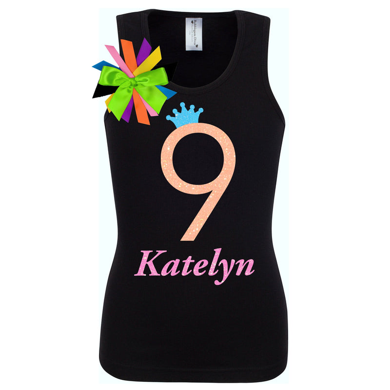 Neon Glow Party Personalized 9th Birthday Girl Shirt