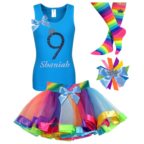 9th Birthday Girl Shirt Princess Crown Outfit Personalized
