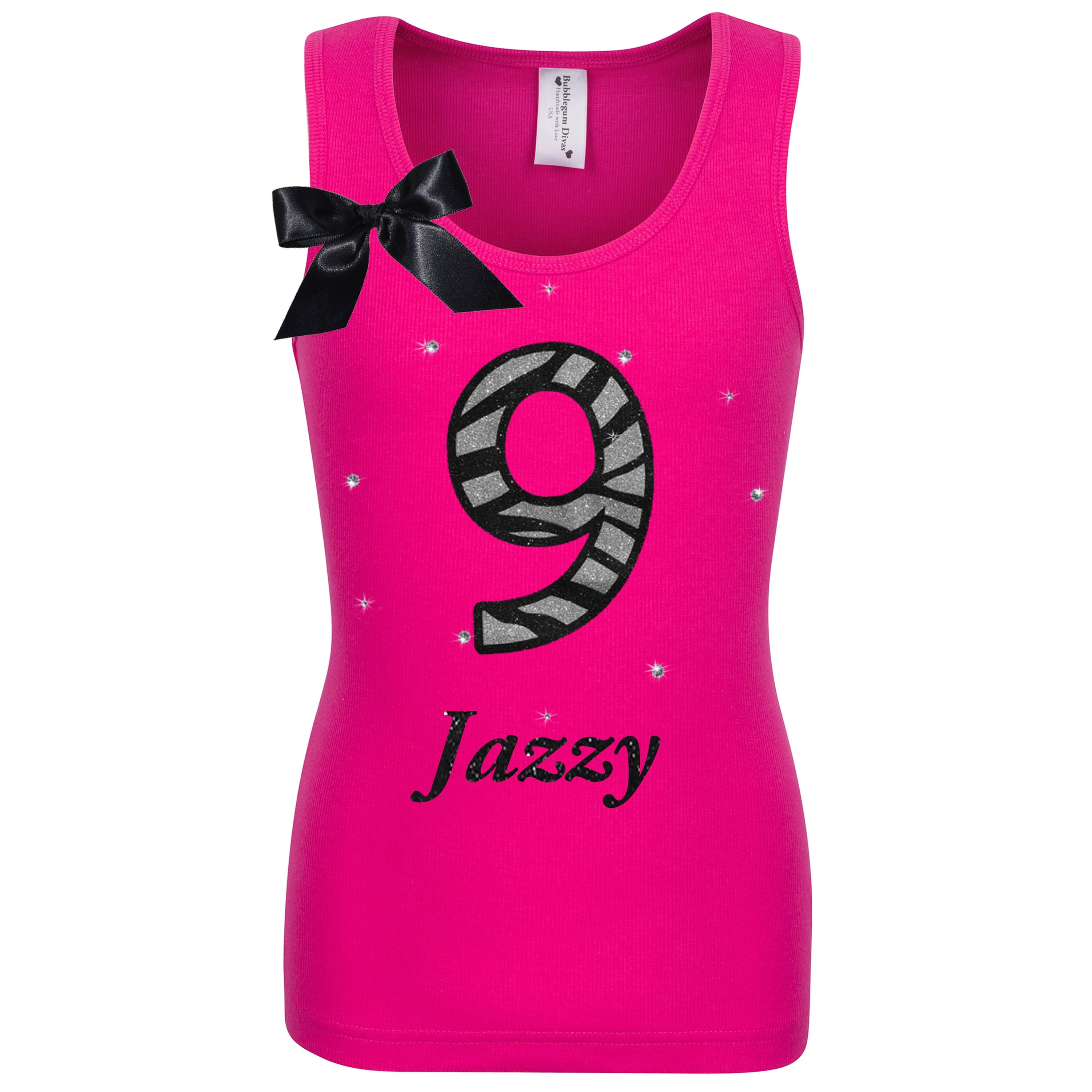 9th Birthday Girl Shirt Zebra Print Personalized Name Age 9