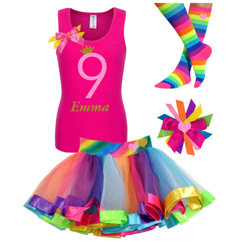 9th Birthday Girls Shirt Rainbow Neon Glow Party Outfit Personalized