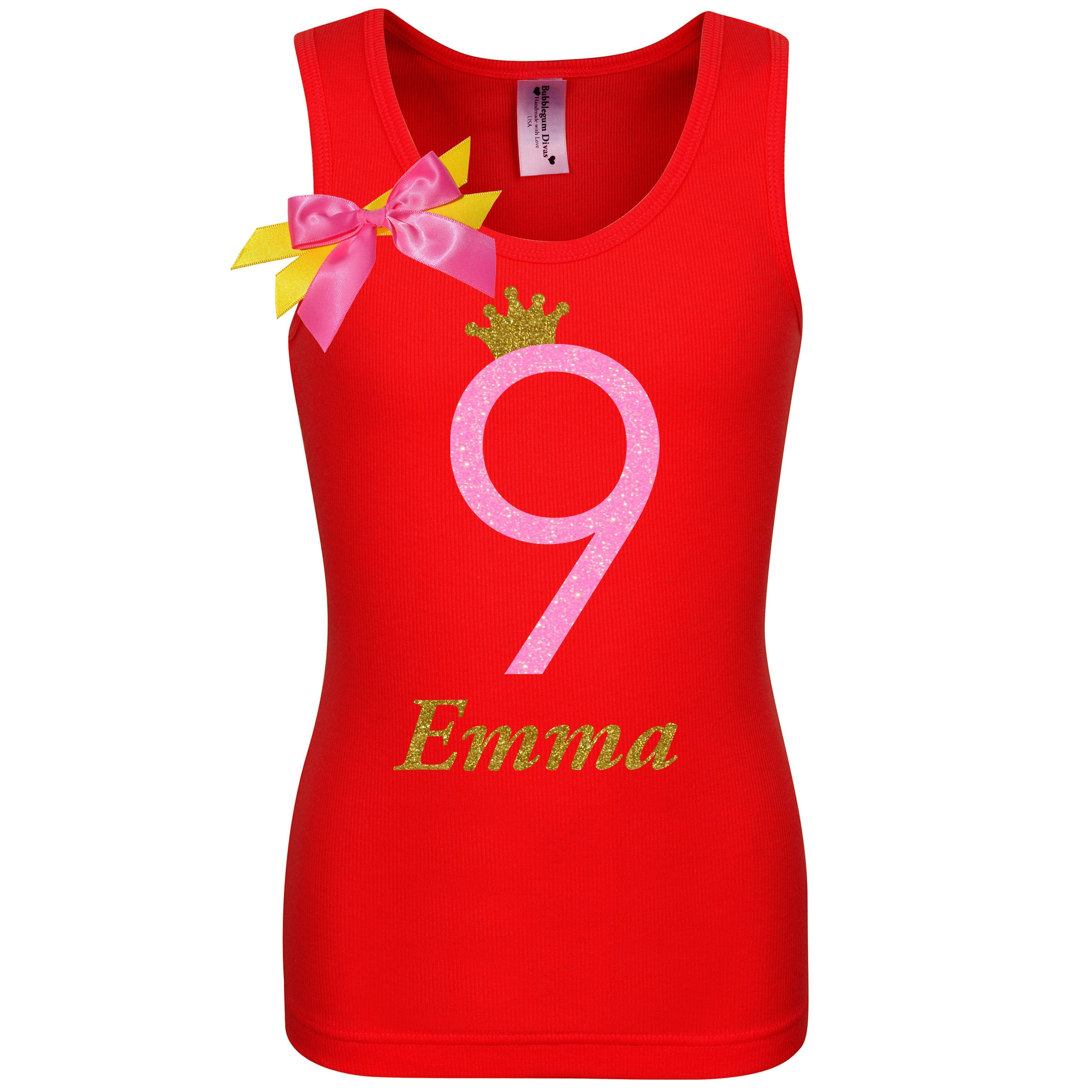 9th Birthday Girl Shirt Neon Pink Personalized Name Age 9