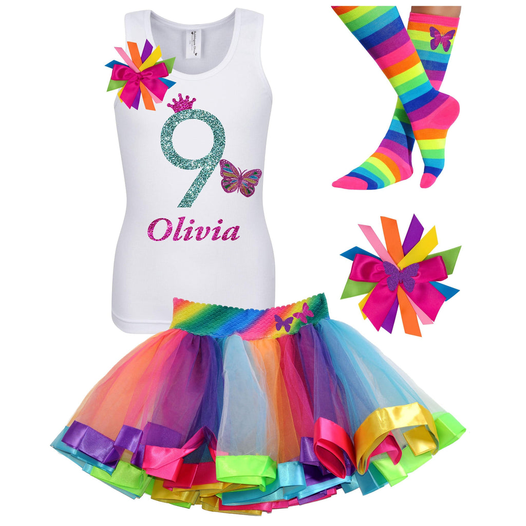 9th Birthday Butterfly Outfit - 9th Birthday Outfit - Bubblegum Divas Store