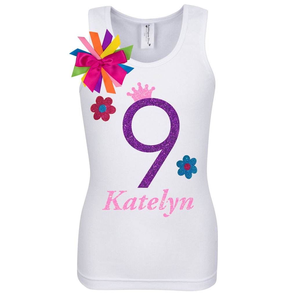 9th Birthday Shirt - Flower Power - Shirt - Bubblegum Divas Store