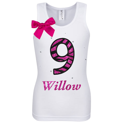 9th Birthday Girl Shirt Pink Zebra Print Personalized Name Age 9