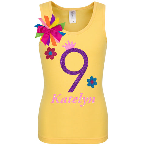Daisy Flower 10th Birthday Shirt Yellow