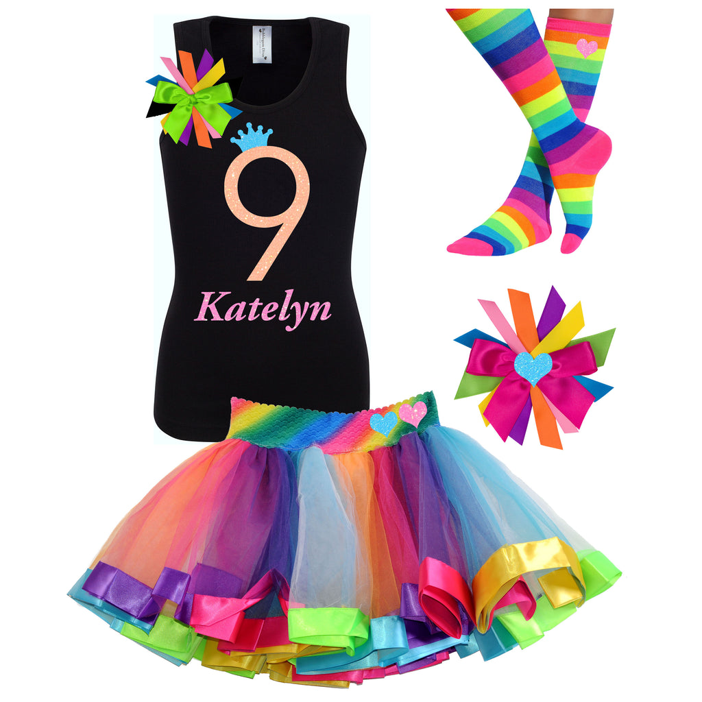 9th Birthday Outfit Neon Glow - 9th Birthday Outfit - Bubblegum Divas Store
