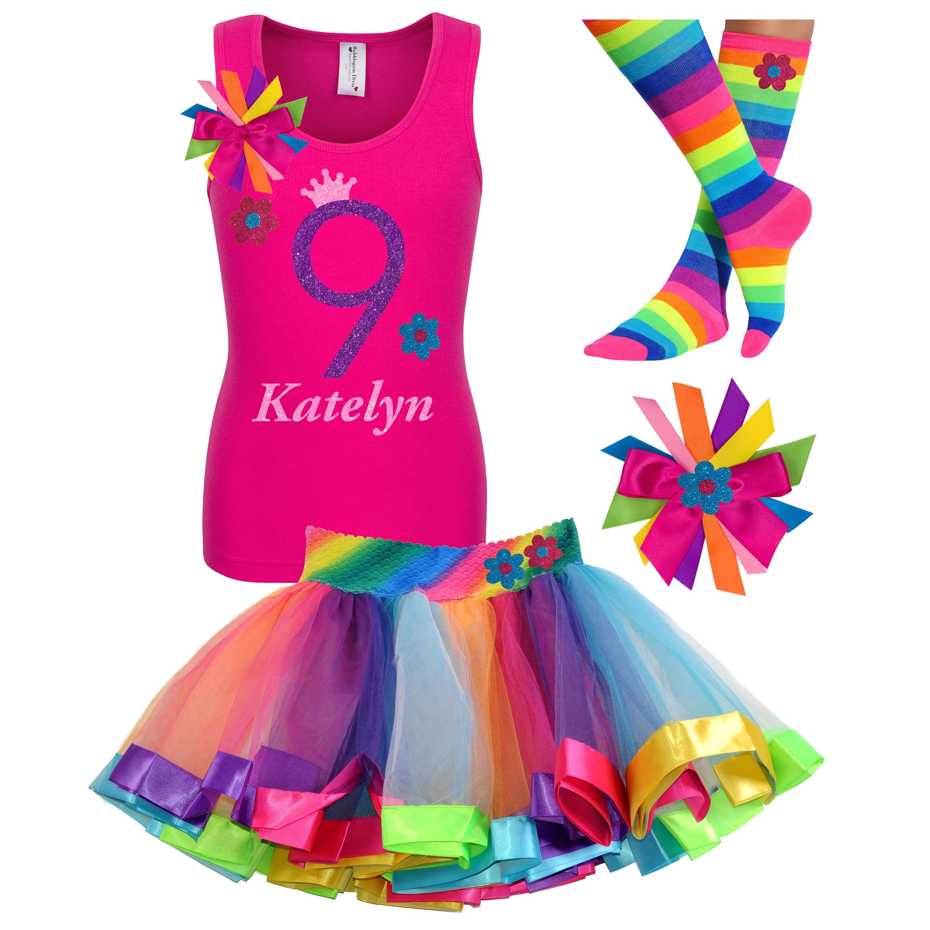 9th Birthday Girl Daisy Flower Outfit Personalized Name Age 9