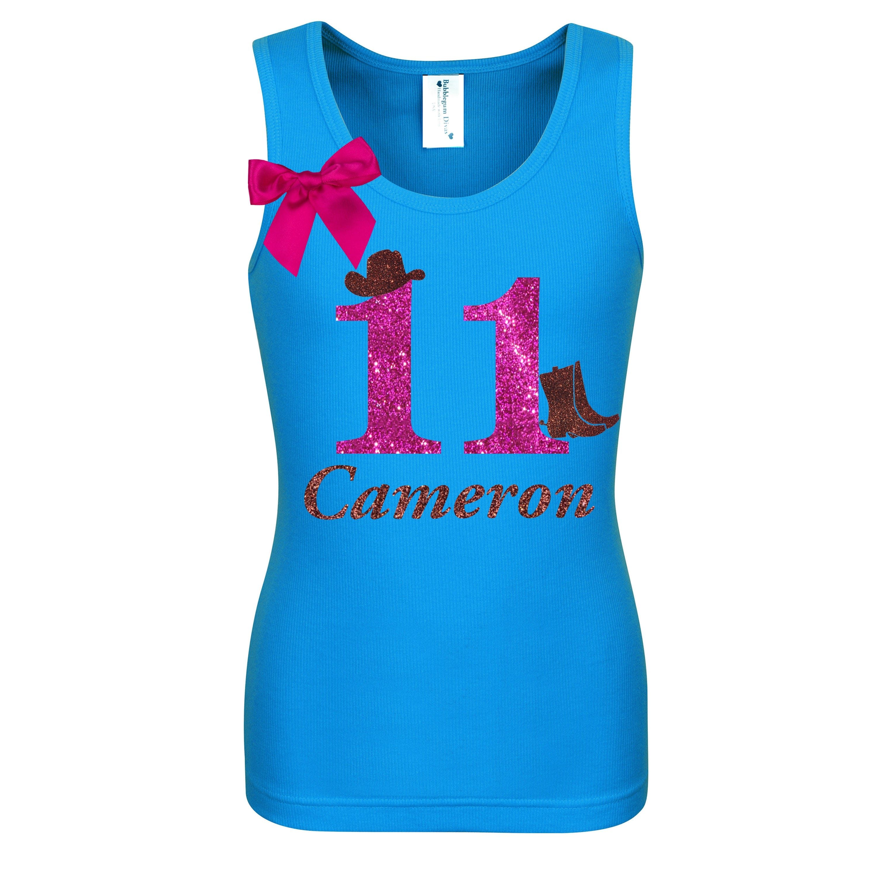 11th Birthday Cowgirl Shirt Personalized Name Age 11 - Shirt - Bubblegum Divas Store