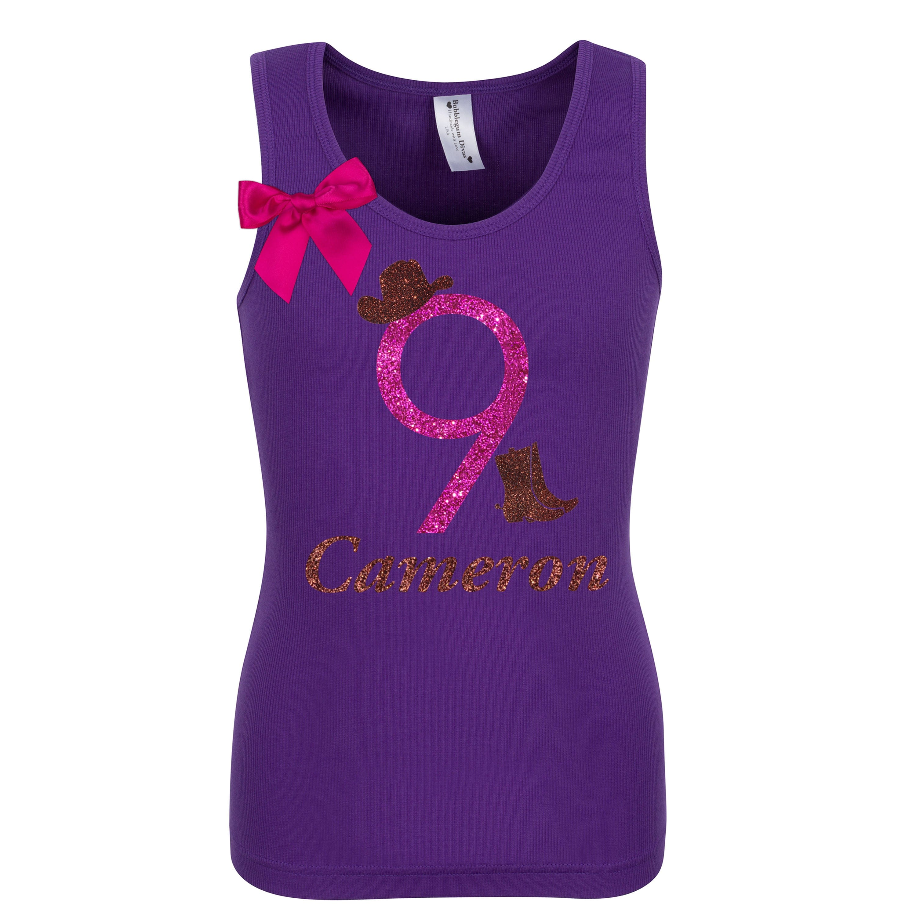 9th Birthday Girl Cowgirl Shirt Personalized Name Age 9