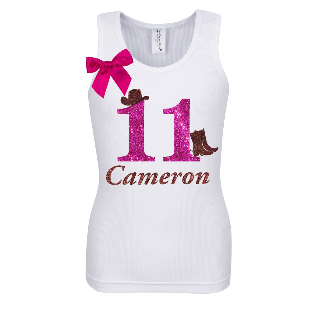 11th Birthday Shirt - Cowgirl Style - Shirt - Bubblegum Divas Store