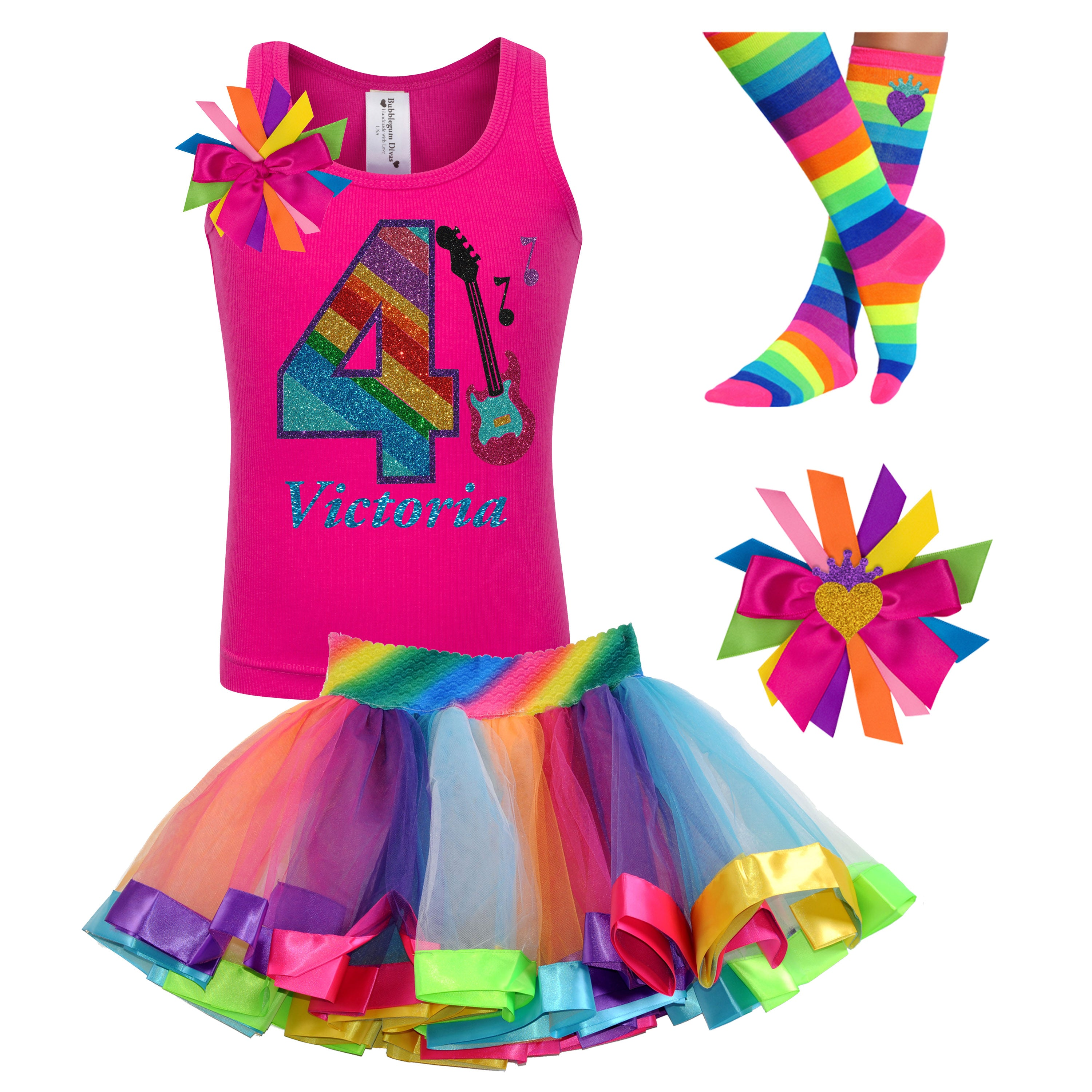 Girls Rock Star Guitar Shirt 4th Birthday Rainbow Tutu Rock N Roll Party Outfit 4PC Set