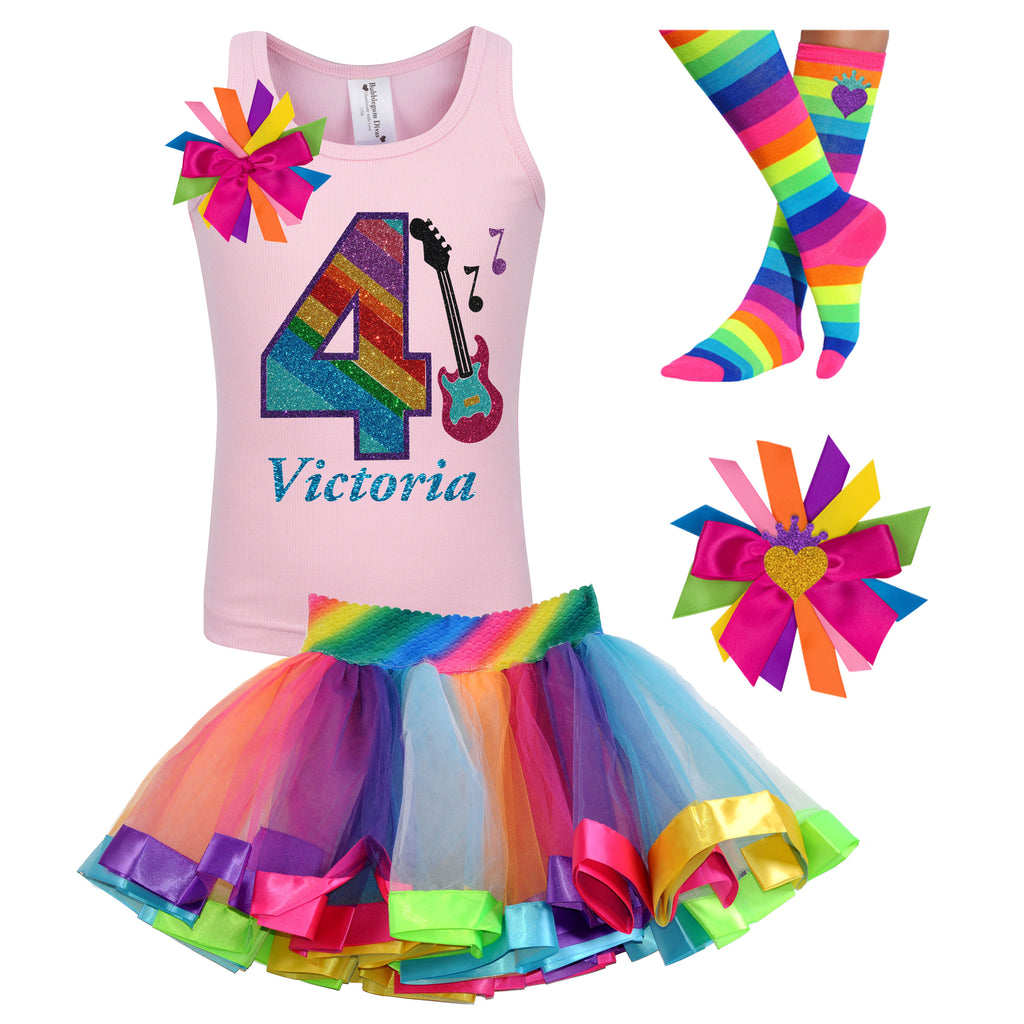 4th Birthday Outfit - Rock N Roll Party - Outfit - Bubblegum Divas Store