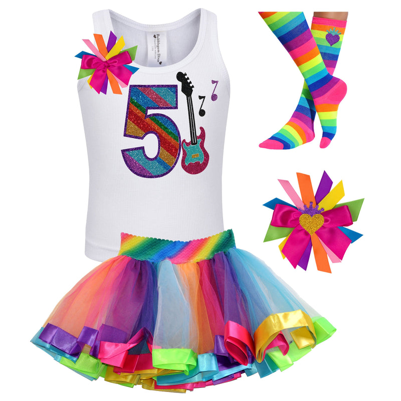 5th Birthday Outfit - Rock N Roll Party - Outfit - Bubblegum Divas Store