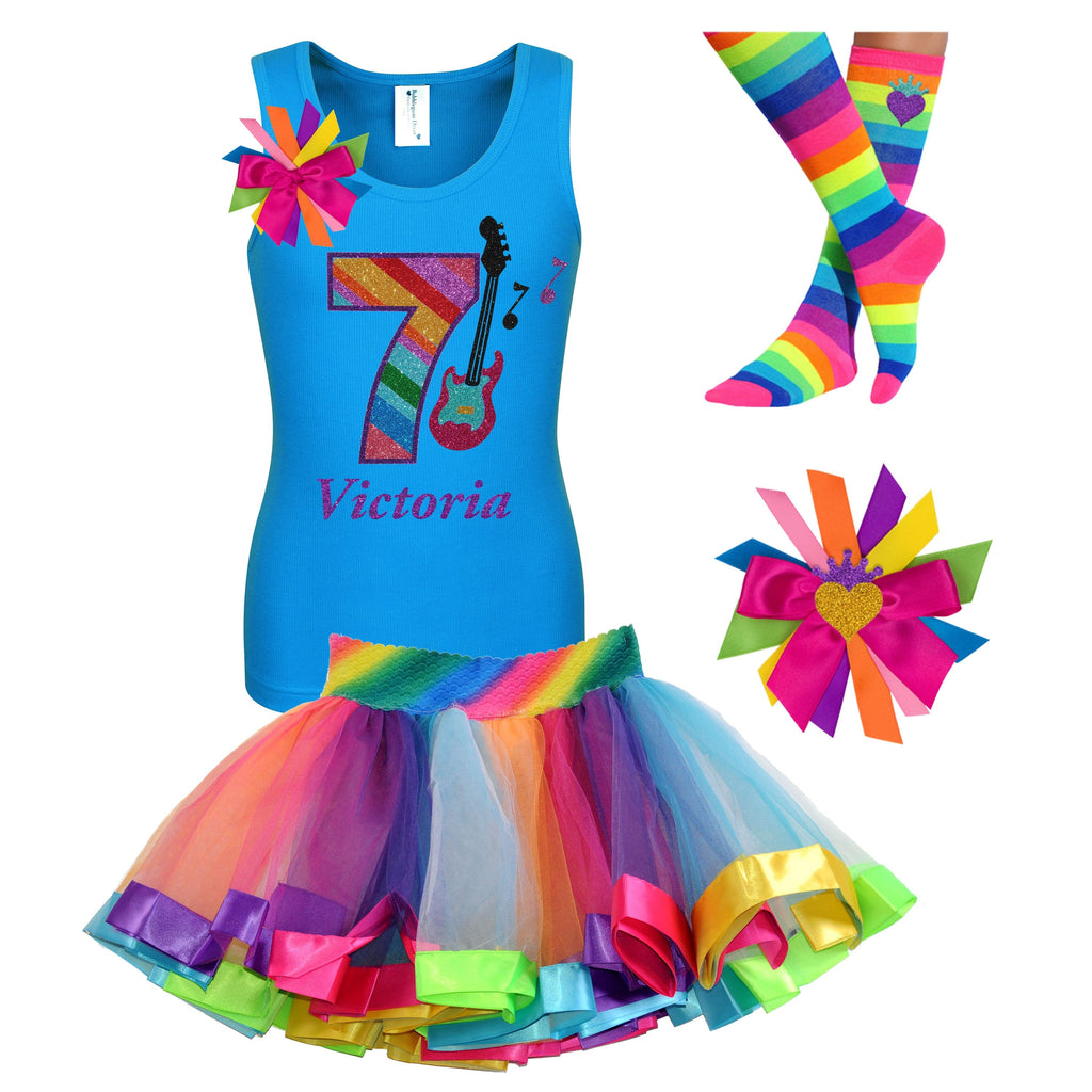 7th Birthday Outfit - Rock N Roll Party - Outfit - Bubblegum Divas Store